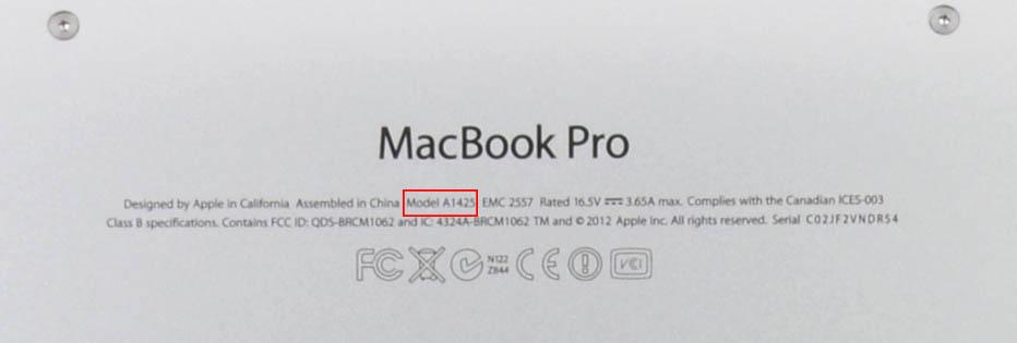 MacBook modelnummer